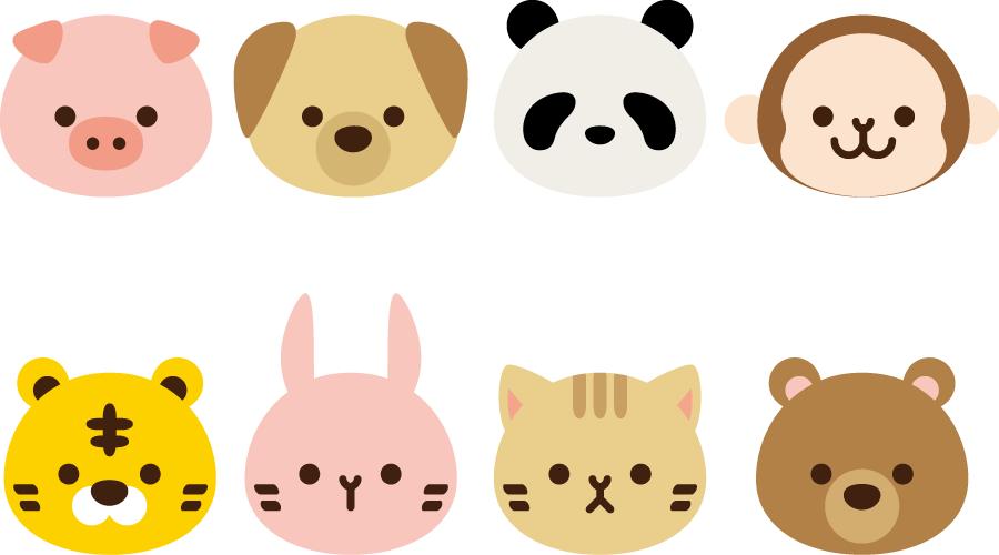フリーイラスト 8種類の動物の顔のセットでアハ体験 Gahag 著作権