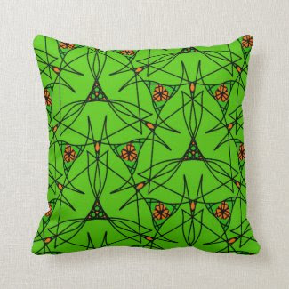 Pillow with Green Triangle Pattern Orange Accents