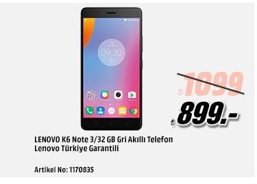LENOVO K6 Note 3/32 GB Gri Akıllı Telefon Lenovo Türkiye Garantili 899TL