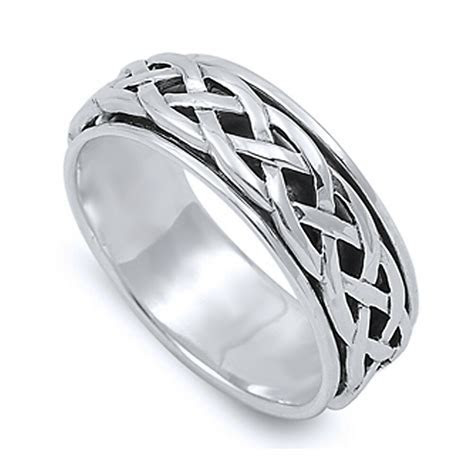 Men Women 8mm 925 Sterling Silver Ring Celtic Design