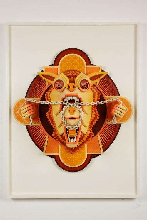 ajfossik bois tableau sculptre 09 500x750 Les monstres en relief dAJ Fosik  art