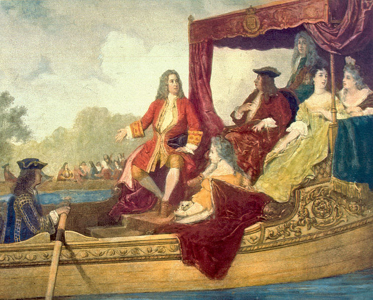 Painting depicting the first performance of the Water Music