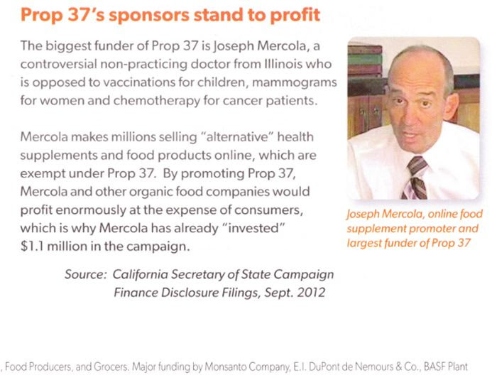 Prop 37's Sponsors Stand to Profit