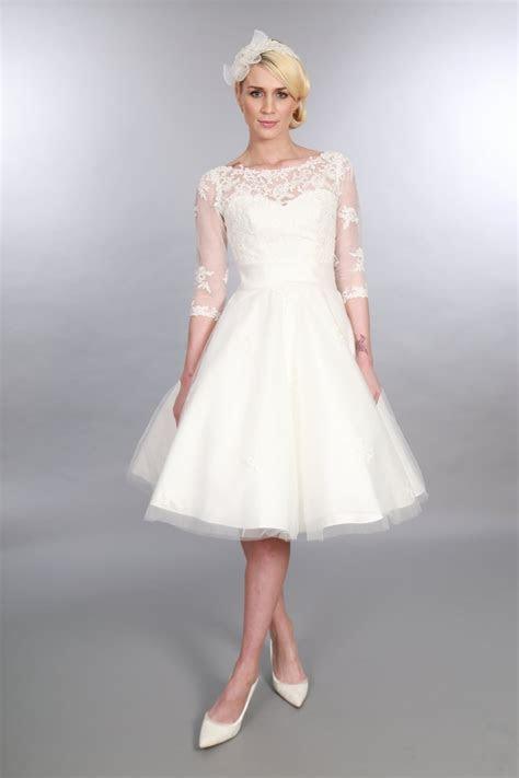 POLLY Tea Length 1950s Vintage Style Wedding Dress