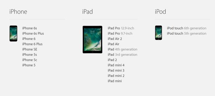 iOS 10 tem lista menor de aparelhos compatível que última versão (Foto: Reprodução/Apple)