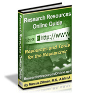 Research Resources Online Guide 340 Page Digital Publication by Marcus P. Zillman, M.S., A.M.H.A. ... The Latest Research Resources and Tools by clicking here