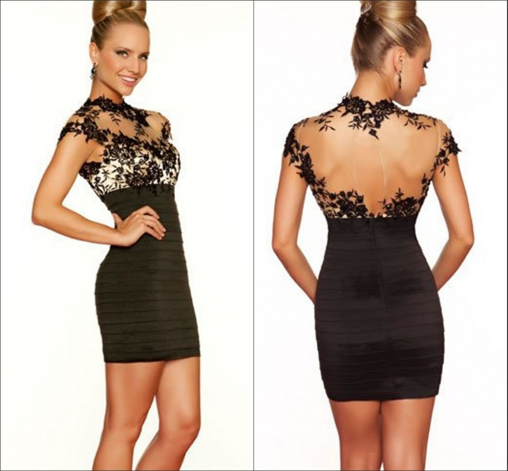 Short black lace evening dress