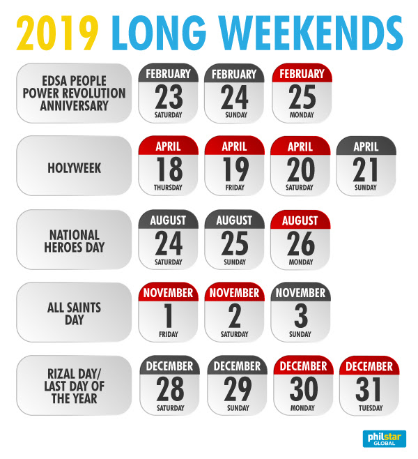 long weekend 2019 philippines  2019 holidays philippines  2019 holidays philippines official gazette  january 28 2019 holiday philippines  malacanang declared holiday 2019  april 17 2019 holiday philippines  may 14 2019 holiday philippines  2018 long weekends philippines
