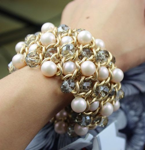2014 Newest Fashion Bracelet Jewelry Hot Wholesale Lady exaggerated Stretch Bracelet beads crystal Bracelet $9.60