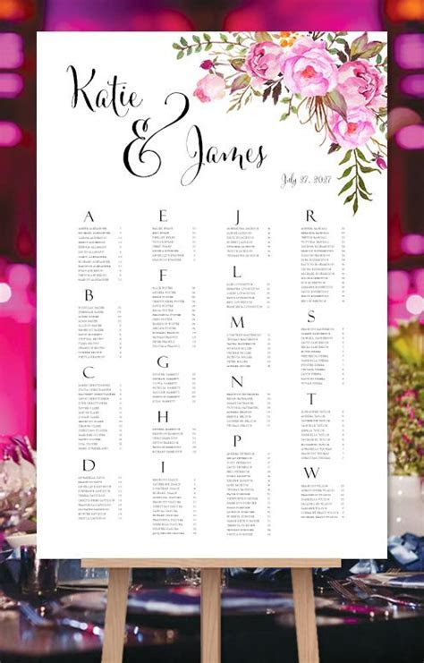 Wedding Seating Chart Pink Romantic Blossoms Watercolor