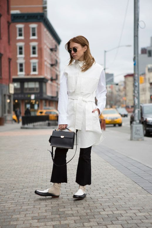 Le Fashion Blog Courtney Trop Robe Style Button-Down Black Flare Jeans Mules Via Always Judging