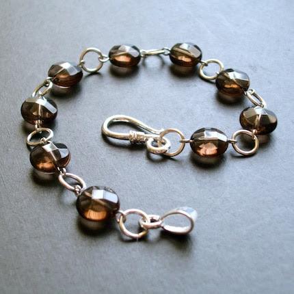 The Nichole -- Smoky Quartz Coins and Silver Links Bracelet