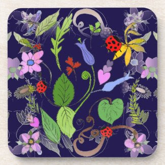 Floral Design on Drink Coasters (set of 6)