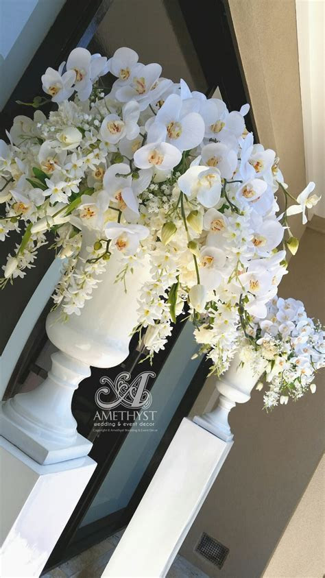 White Wedding Urn Orchid Arrangement