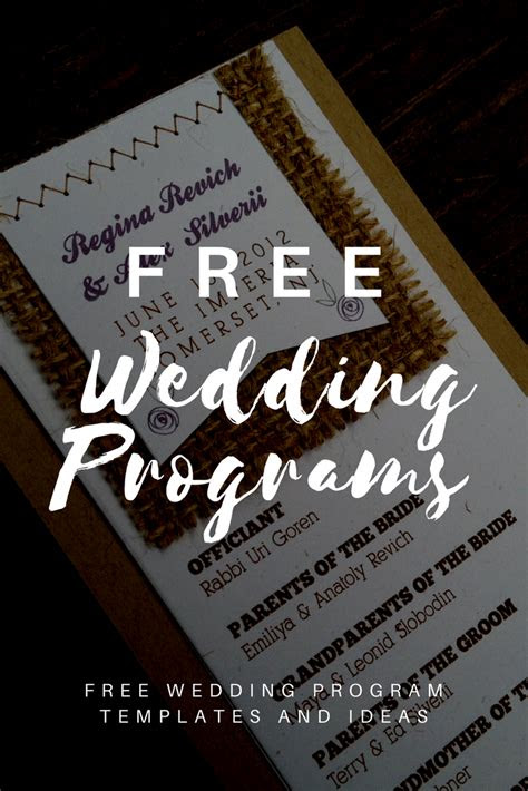 wedding program templates wedding wedding program
