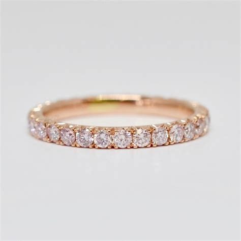 Light Pink Natural Diamond French Pavé Eternity Band 2.2mm