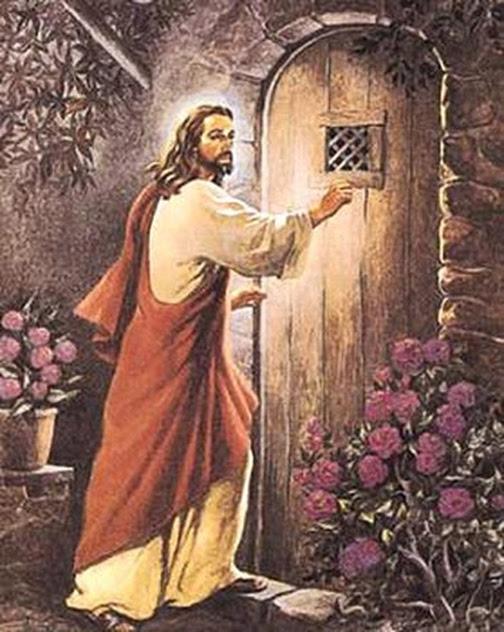 [Drawing of Jesus standing at a door]
