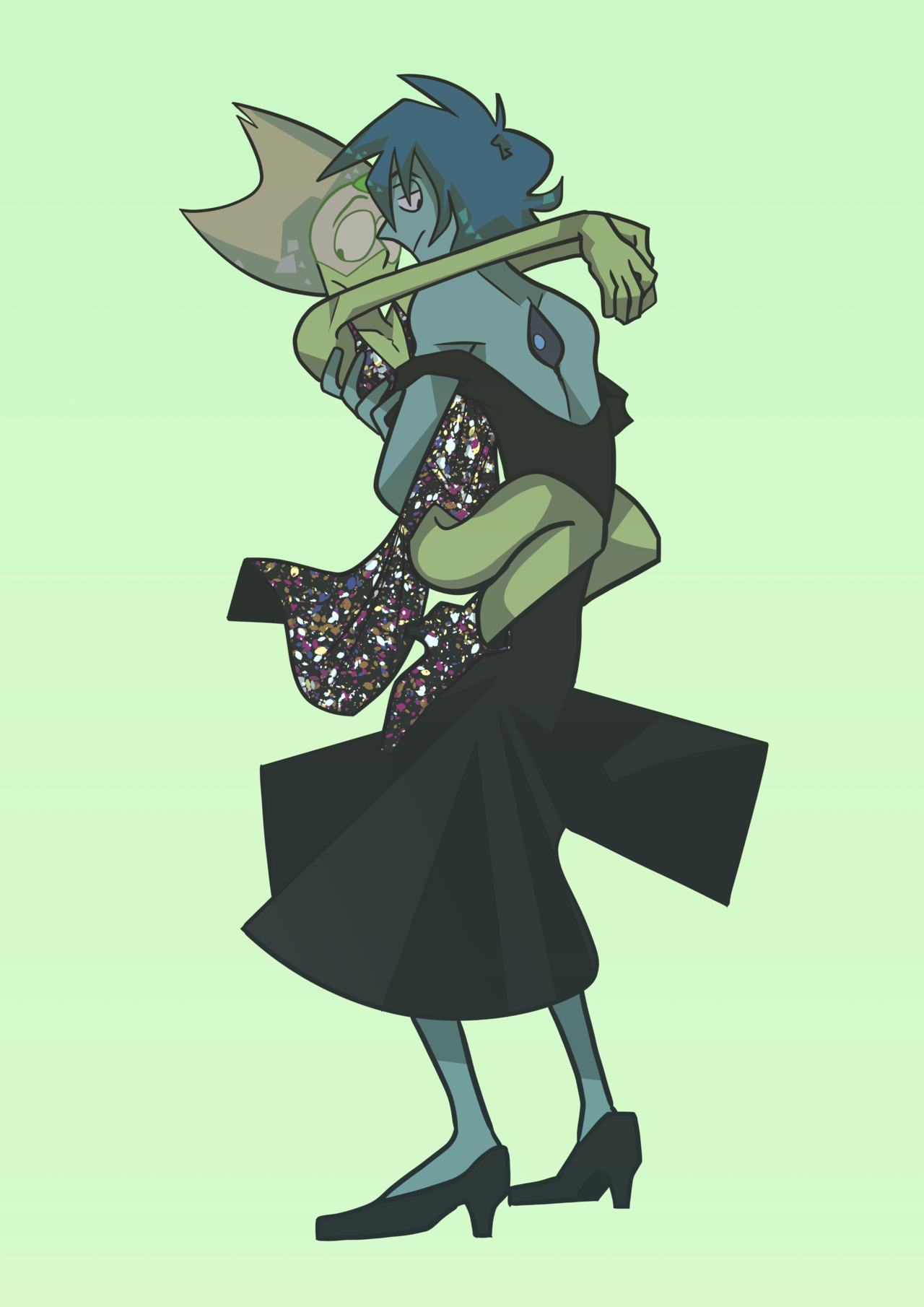 Because Peridot is a glitter space queen. And Lapis is her guardian.