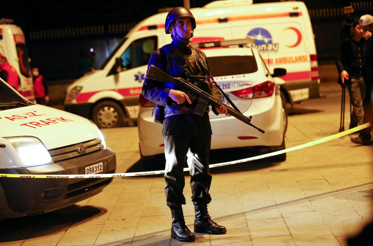 A Turkish soldier stands guard near the site of an explosion in Ankara, Turkey February 17, 2016.