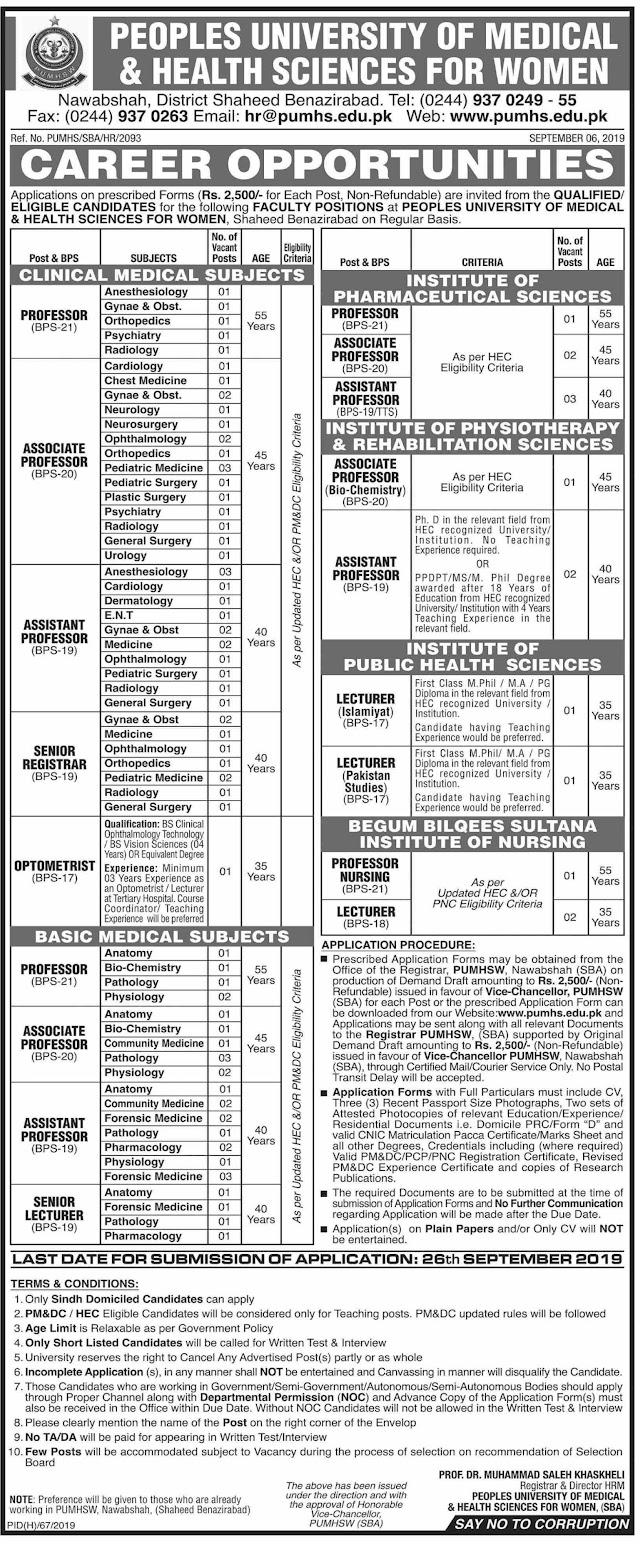 JOBS Opportunities and Carree In Peoples University Of Medical & Health Sciences For Women