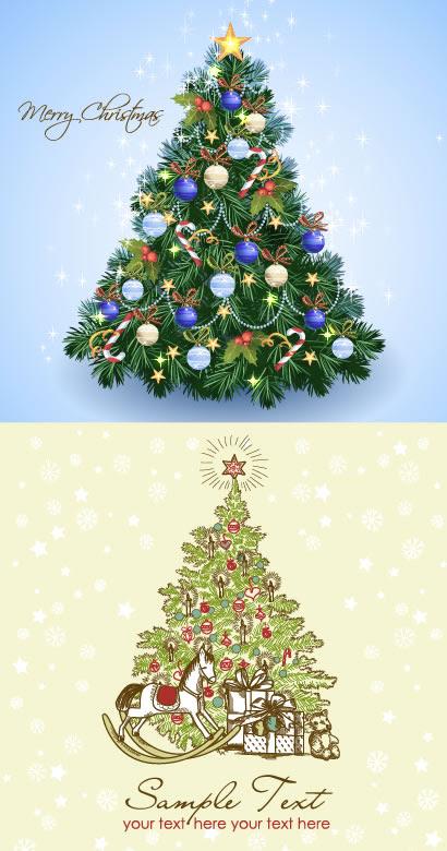 クリスマスツリー背景馬プレゼントのイラストaieps