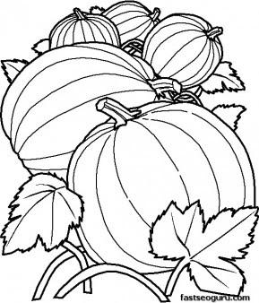 printable vegetables pumpkins coloring pages  free