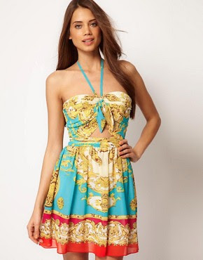 Image 1 ofLipsy Scarf Print Dress With Cutout