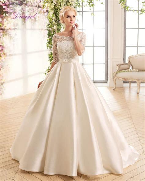 Dreagel Gorgeous Boat Neck Half Sleeves Wedding Dress 2017