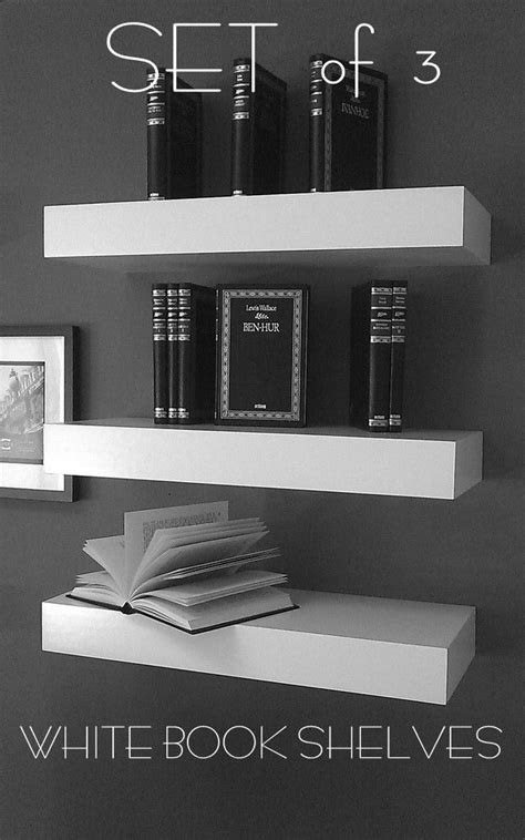 48 Long Floating White Lacquer Shelves Single Shelf by