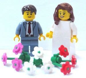 Lego Wedding Minifigure Figure Bride Brown Hair & Groom