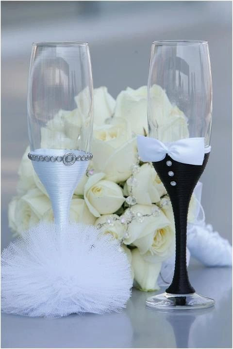 Hand made wedding glasses one pair of two by PaperFlowersBySimona, $30.00