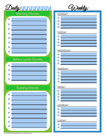 Editable Daily & Weekly Chore Schedule ~ (Blank Version ...