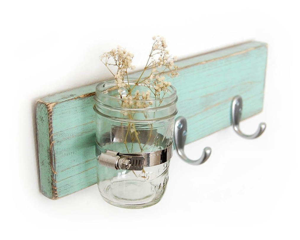 Seafoam key hook wood wall vase home organization Sweet Mint vase - OldNewAgain