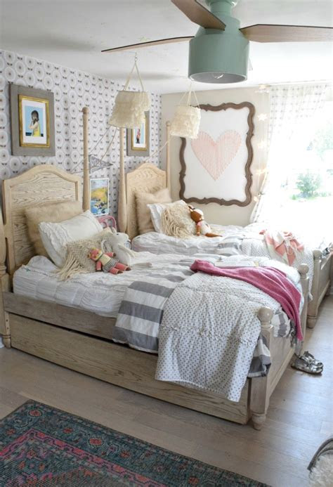 wallpaper accent wall   girls shared bedroomagain