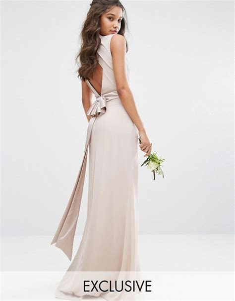 TFNC   TFNC WEDDING High Neck Maxi Dress with Bow Back