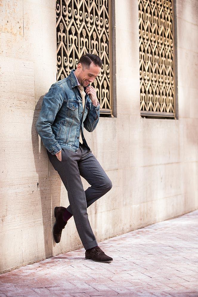 how to wear a denim jacket as a blazer  he spoke style