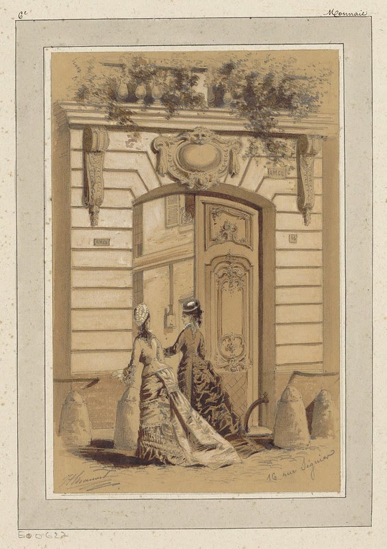 watercolour & pen drawing of 2 well-dressed women in 1880s Paris talking together outside of a double door entrance of building with embellished facade