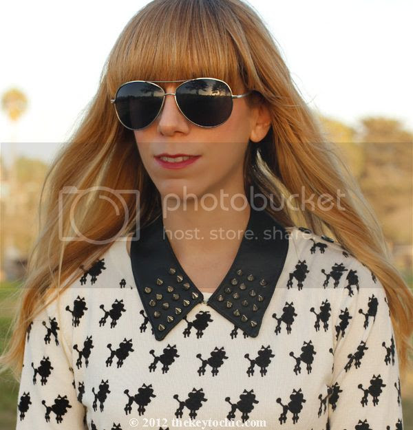 Bakers studded spike collar necklace, Forever 21 poodle print sweater