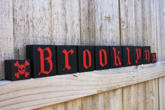 SKULL CROSSBONE BLOCKS Pirate Custom by KnottedPineDesign