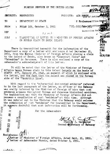 1951 1003 Transmittal of letter from Minister of Foreign Affairs of Korean Claim to Dokdo Island_1