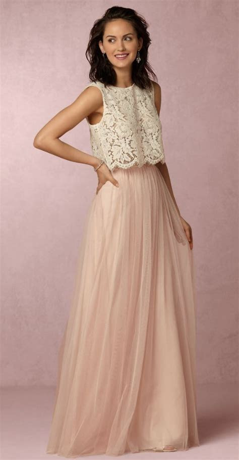 Two Piece Sleeveless Lace Top Pink Tulle Skirt Bridesmaid