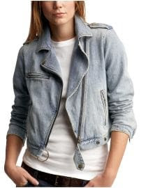 Gap Washed denim motorcycle jacket
