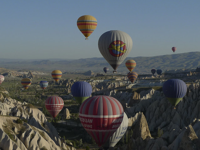 balloons flying over Cappadocia
