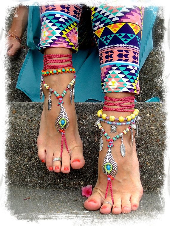 Bikini PEACOCK Feather BAREFOOT sandals Hot Pink Toe by GPyoga, $88.00
