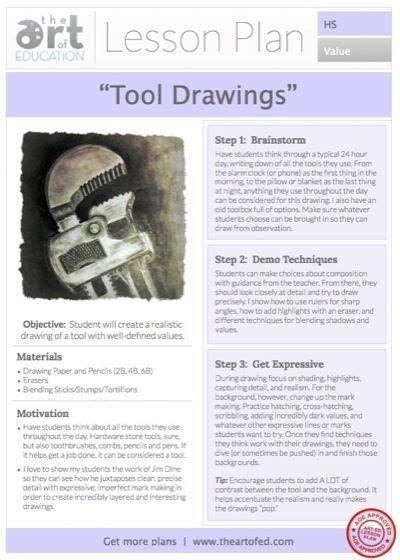 tool drawings  lesson plan   art