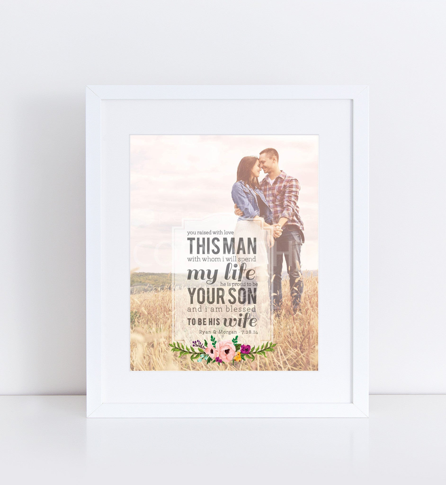 Man Of My Dreams Parents Wedding Gift Photo Quote 76thandnewbury