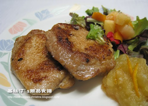 豬扒配蘋果醬 Fried Pork Loin Chops with Apple Sauce