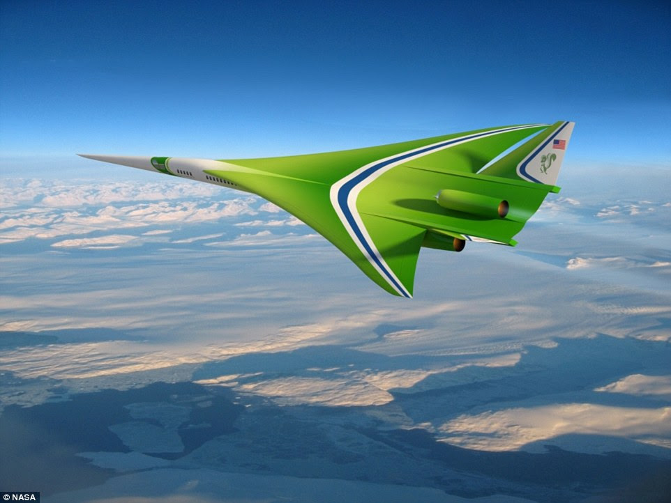 Our ability to fly at supersonic speeds over land in civil aircraft depends on the ability to reduce the level of sonic booms. Nasa has been exploring a variety of options for quieting the boom, starting with design concepts and moving through wind tunnel tests to flight tests. This rendering of a possible future civil supersonic transport shows a vehicle that is shaped to reduce the sonic shockwave