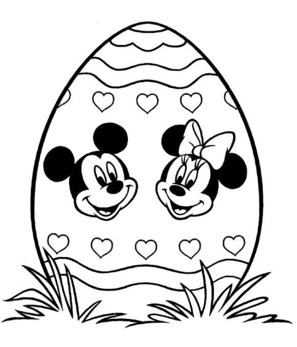 Coloriage A Imprimer Oeuf De Paques De Mickey Et Minnie Gratuit Et