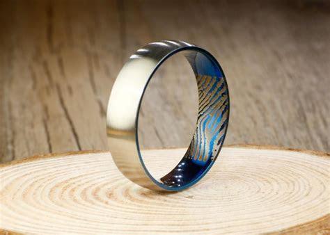 Your Actual Finger Print Rings, Handmade Blue Matte Finger